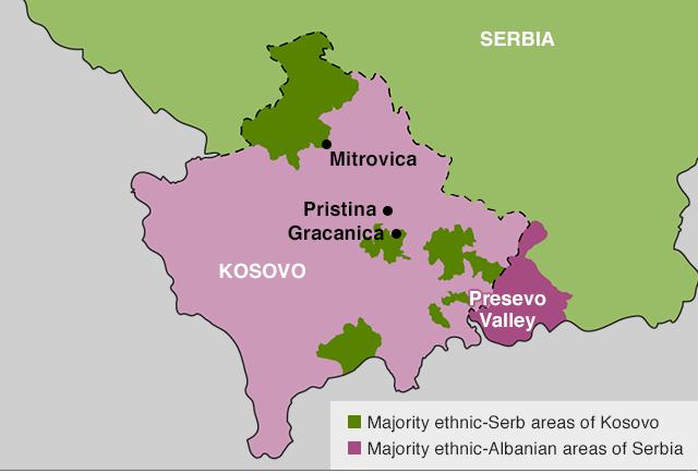 mapa do kosovo com regiões da troca