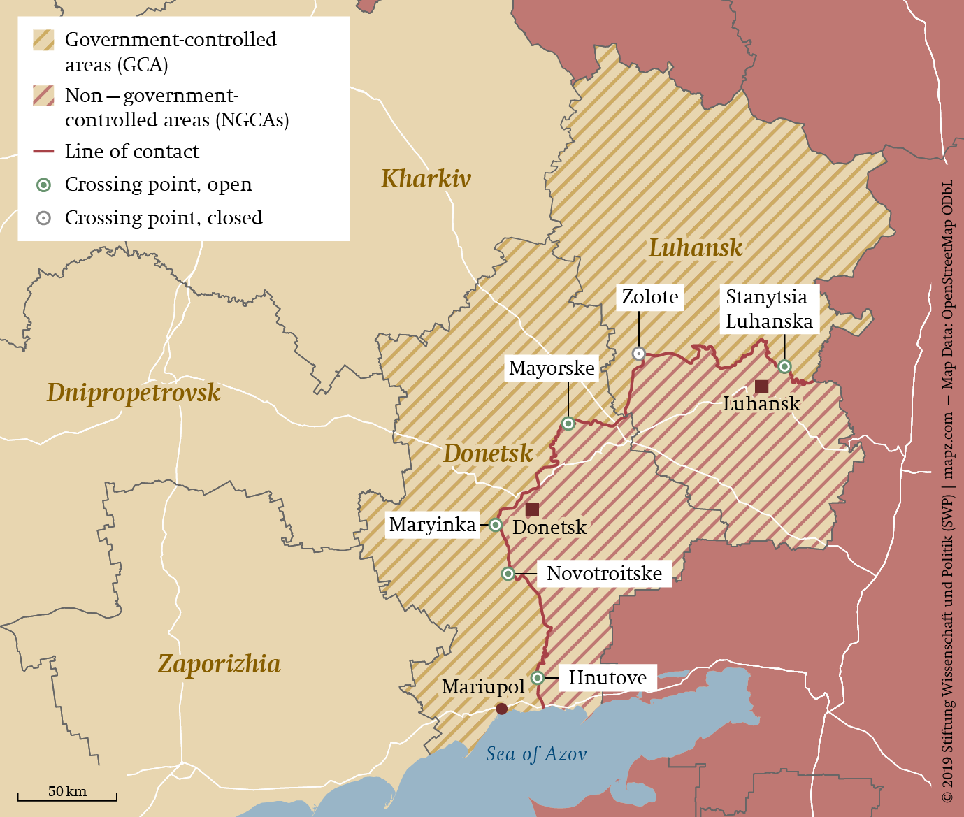 Região do conflito separatista do Donbass
