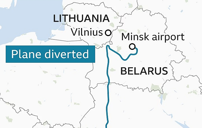aircraft with Protasevich diverted to Minsk