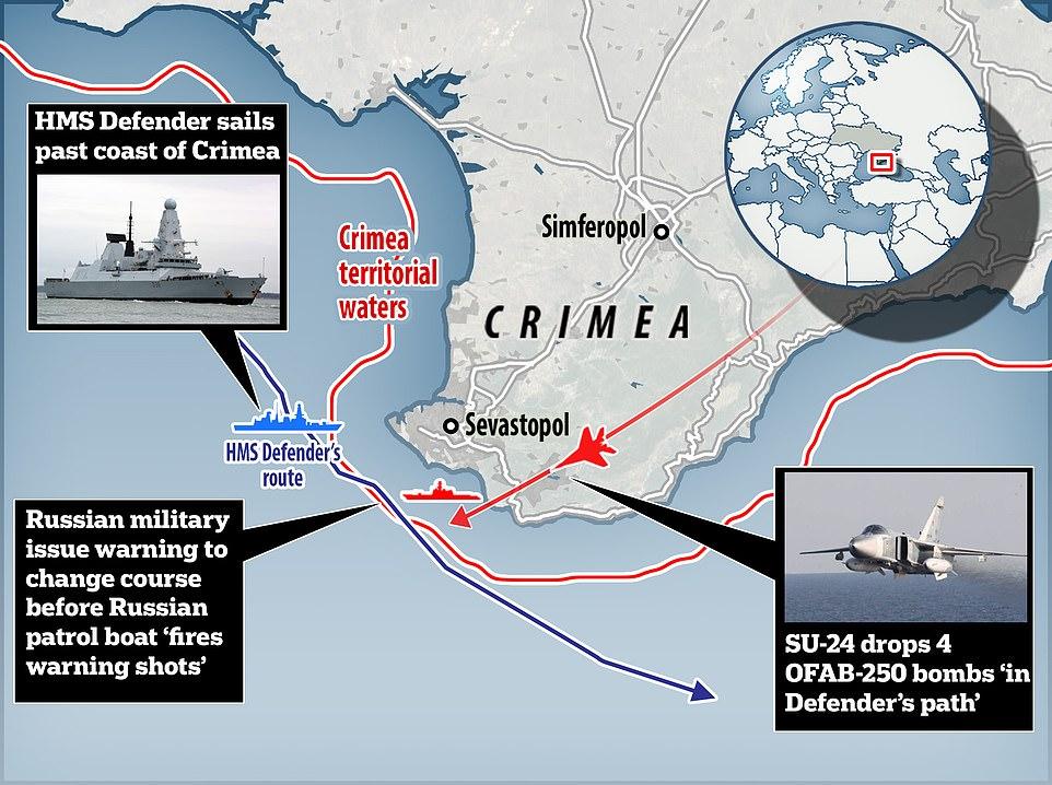 British navy cruiser HMS Defender is intercepted by russian plane