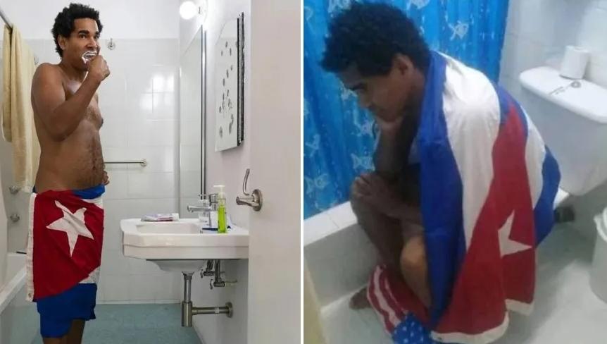 Luis Manuel Otero, coordenador do Movimento San Isidro, em atos de desrespeito à bandeira de Cuba