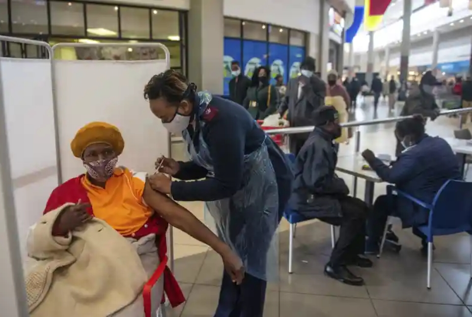 A patient receives a Johnson & Johnson Covid vaccine, Hammanskraal, South Africa